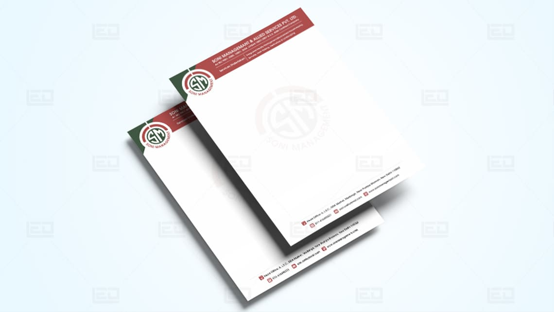 Soni Management Letterhead Design by Leading Edge Designers